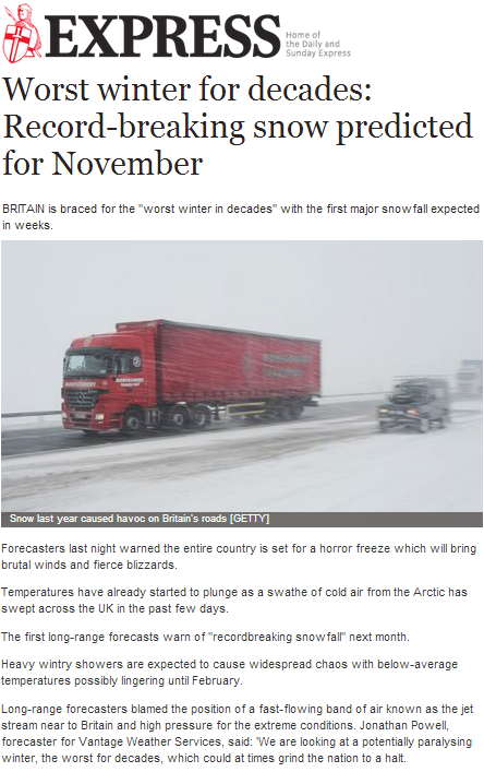 Record-breaking snow predicted for November